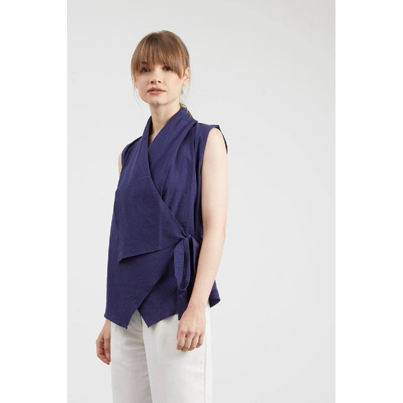 Hillary Navy Wrap Top