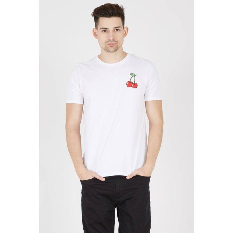 Men T-Shirt Cherry White