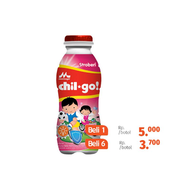 Chil Go Milk Strawberry Botol 140Ml (Beli 6 Lebih Murah)