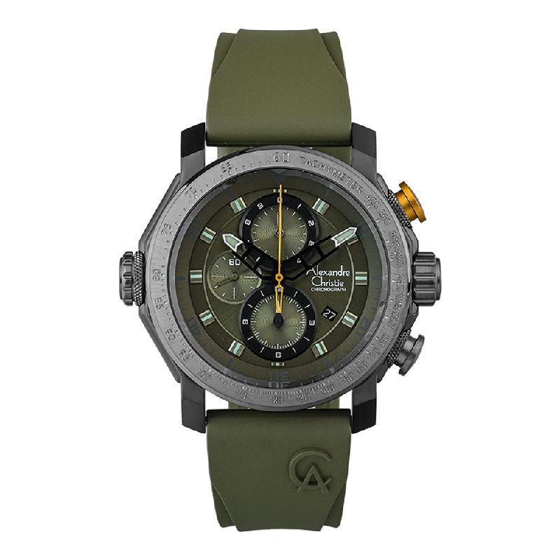 Alexandre Christie AC 6565 MCREPGN Chronograph Men Green Army Dial Green Army Rubber Strap