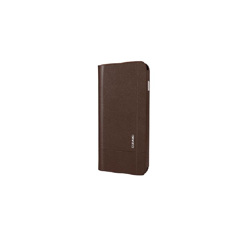 Ozaki iPhone 6 Plus O!coat Aim+ Leather Folio Case with Two Pockets-Cokelat