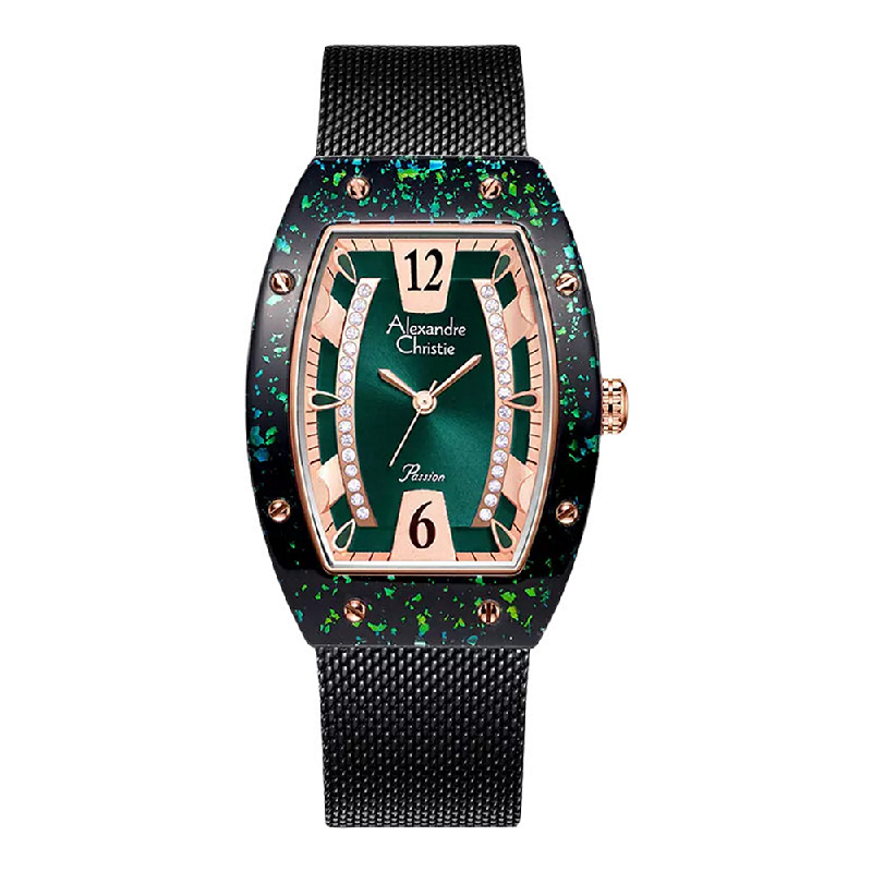 Alexandre Christie Passion AC 2856 LH BBRGN Ladies Green Dial Black Mesh Strap
