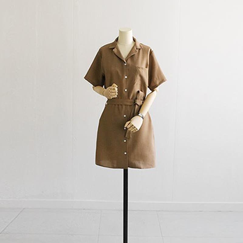 Belted Pocket Shirt Dress Brown