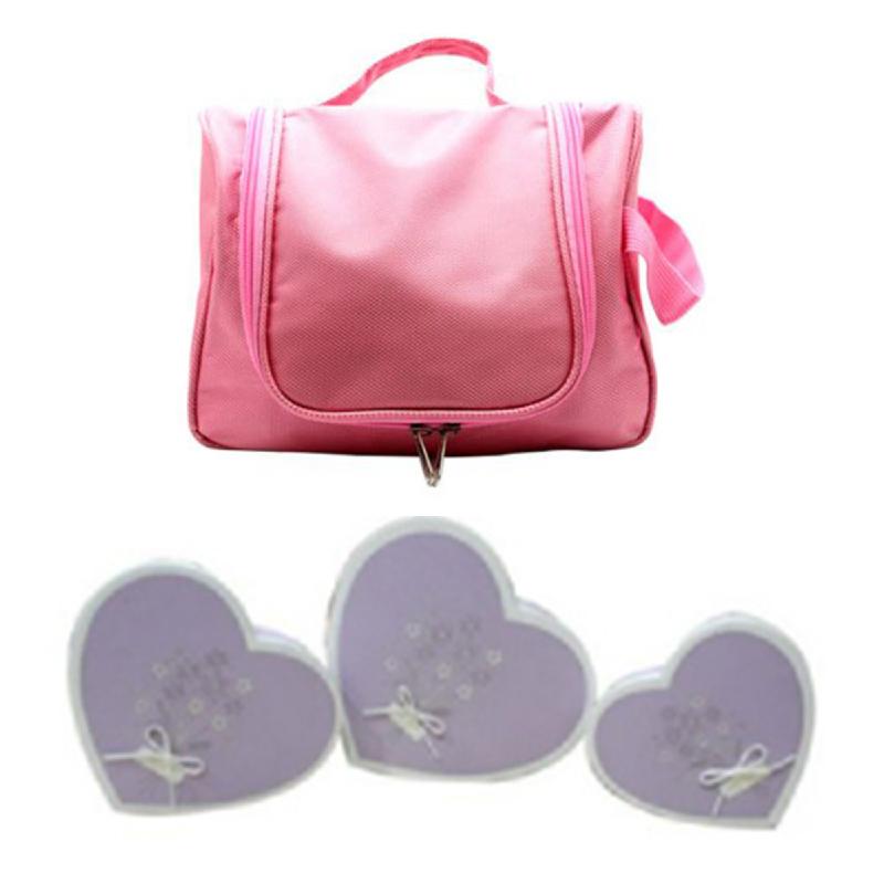 Copia Heart Shape Box Large Purple + Copia Accessories Bag Pink