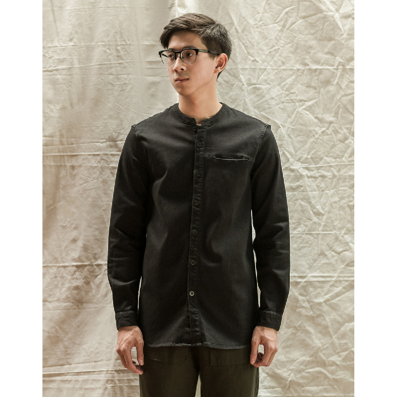 ANDERS MINI COLLAR SHIRT Black