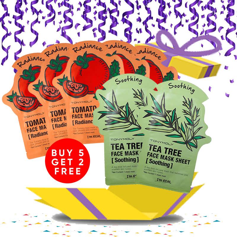 Tony Moly Bundle 5pcs I Am Real Tomato Mask Sheet Skin Glow + 2pcs Tea Tree Mask Sheet Skin Calming