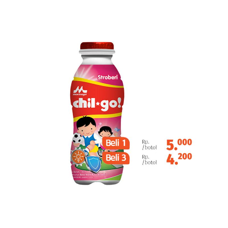 Chil Go Milk Strawberry Botol 140Ml (Beli 3 Lebih Murah)