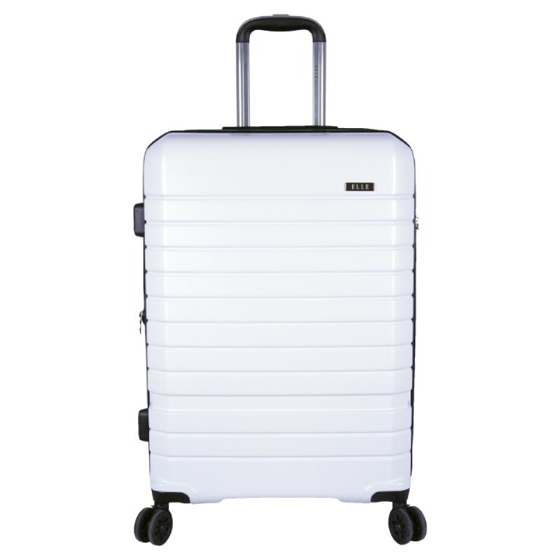 Elle Luggage Hardcase size 25 inch 4 Wheels TSA Lock Anti Theft White