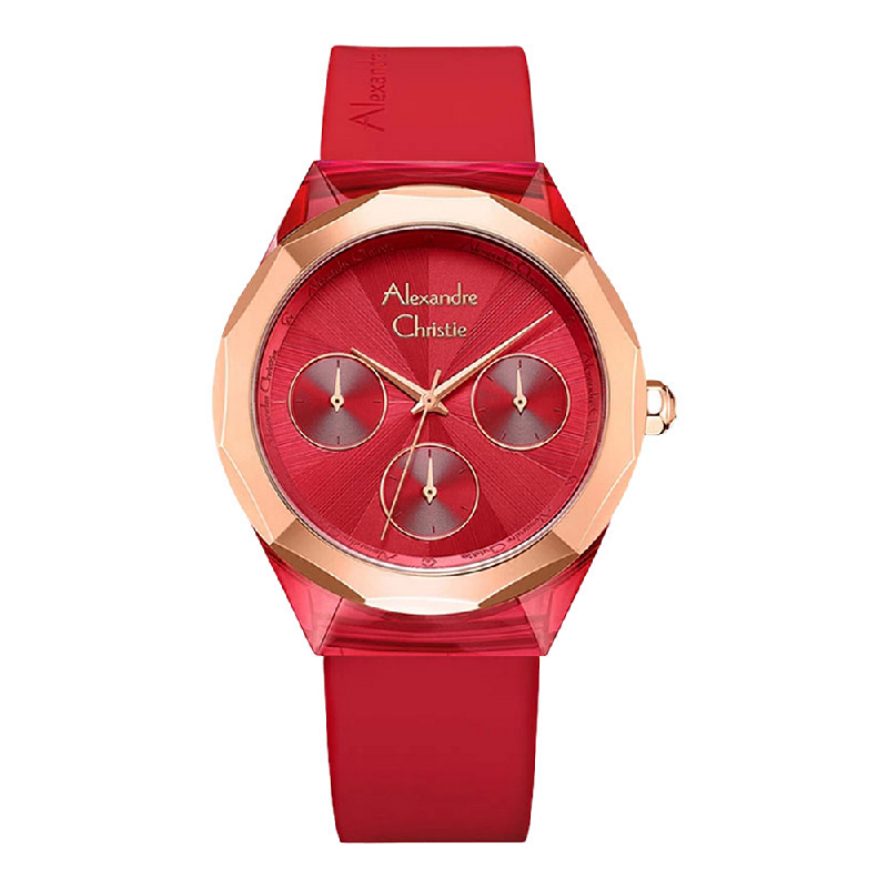 Alexandre Christie AC 2808 BF RRGRERE Ladies Red Dial Red Rubber Strap