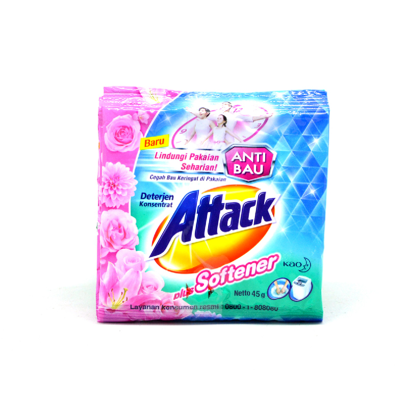 Attack Detergent Plus Softener Sachet 6x45gr