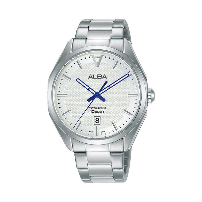 Alba AS9K75X1 Men Silver Patterned Dial Stainless Steel Strap