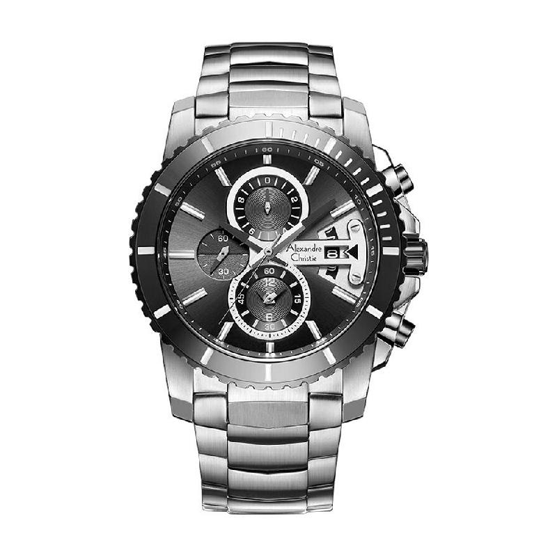 Alexandre Christie AC 6455 MCBTBBA Mens Watch Stainless Steel Silver Black