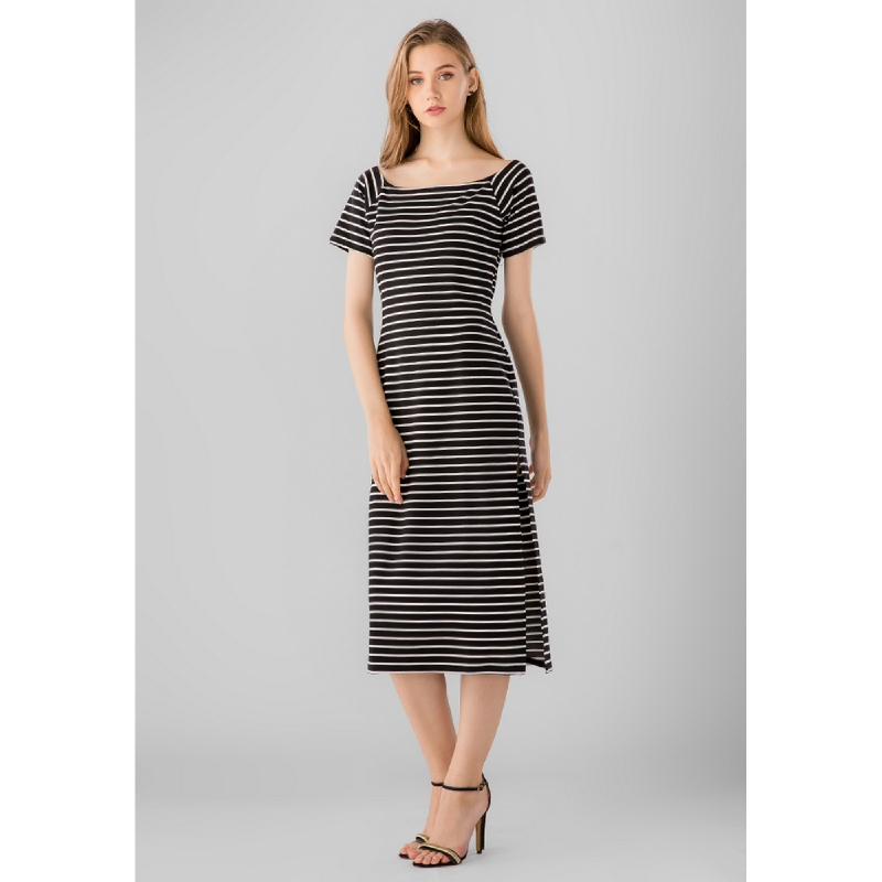 Lovadova Freya Premium Stripe Bodycon Dress Black