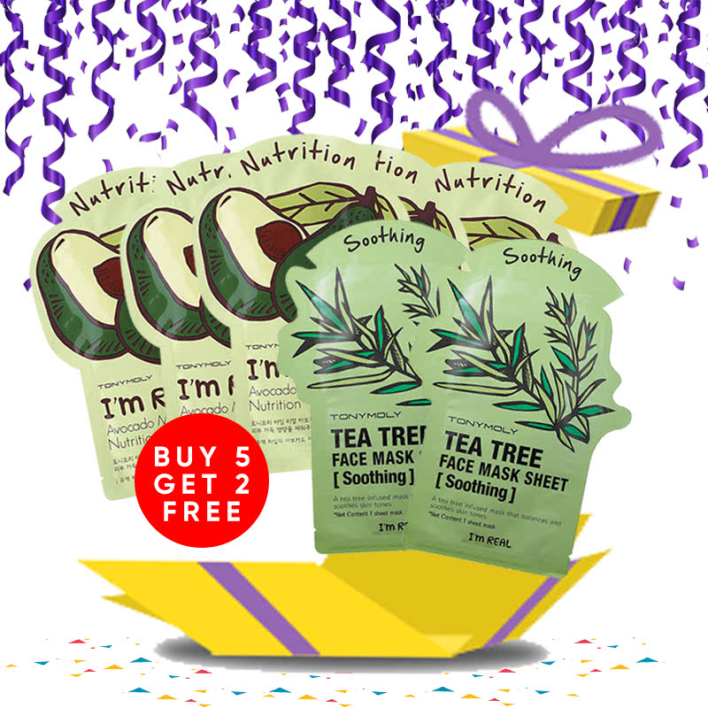 Tony Moly Bundle 5pcs I Am Real Avocado Mask Sheet Nutrition + 2pcs Tea Tree Mask Sheet Skin Calming