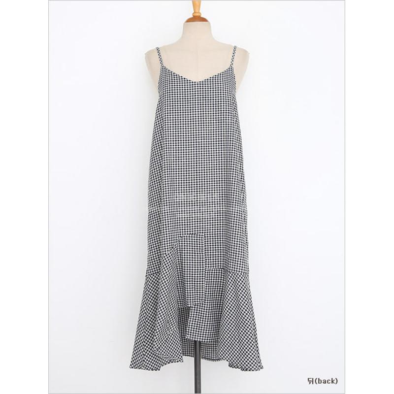 Qnigirls Ruffle Checkered Dress - Black