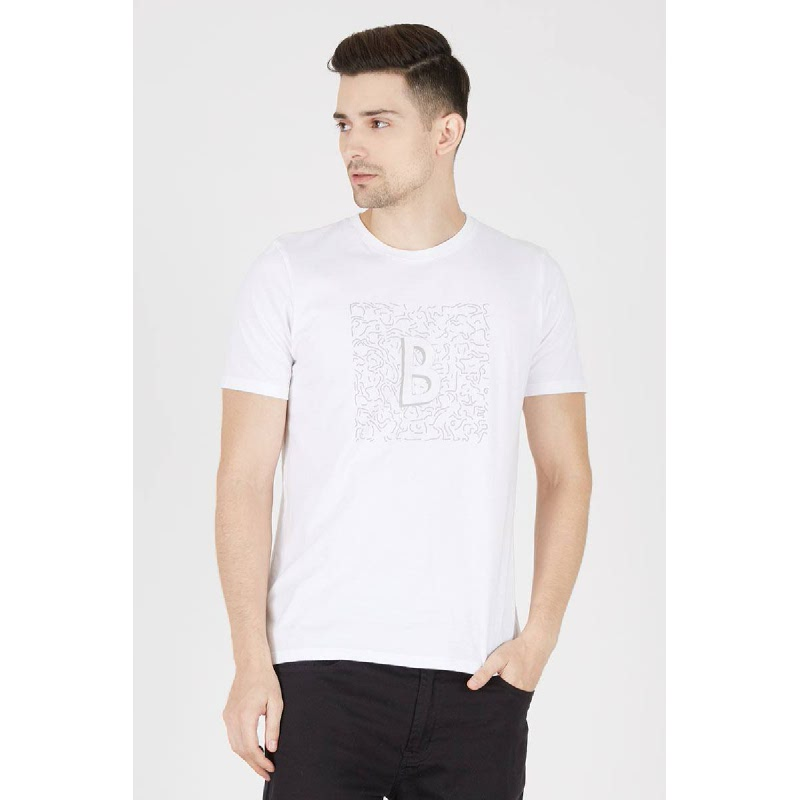 Men T-Shirt Invisible B White