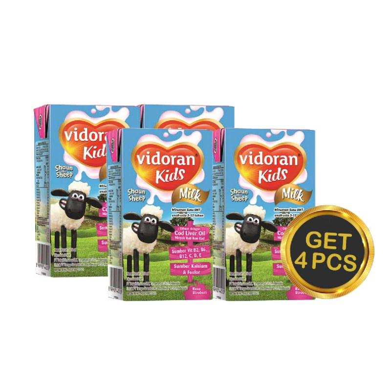 Vidoran UHT Kids Strawberry Tp 115 Ml (Get 4)