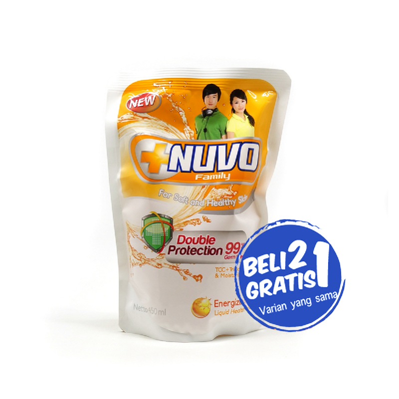 Nuvo Body Foam Energizing Gold Pouch 450Ml (Buy 2 Get 1)
