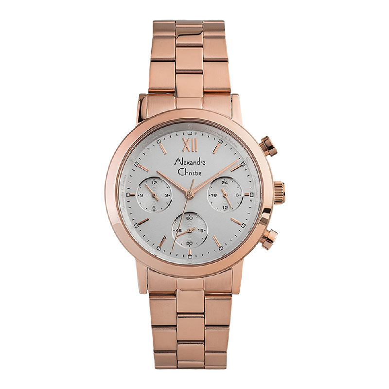 Alexandre Christie AC 2901 BF BRGSL Chronograph Ladies Silver Dial Rose Gold Stainless Steel