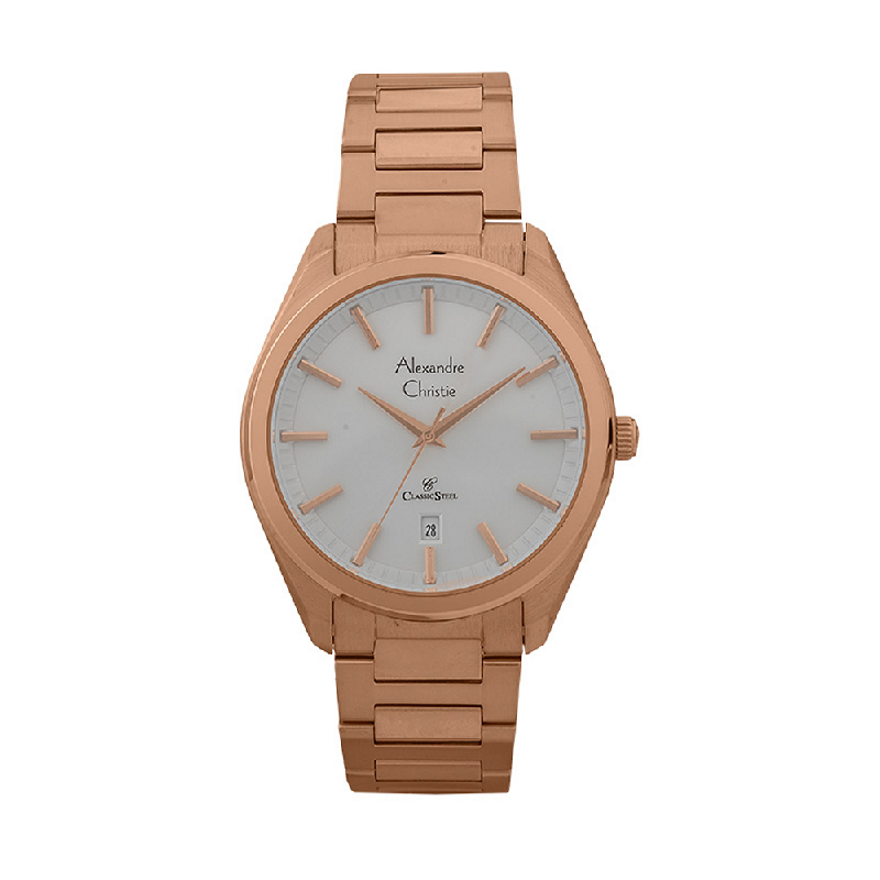 Alexandre Christie Classic Steel AC 8638 MD BRGSL Men Silver Dial Rose Gold Stainless Steel