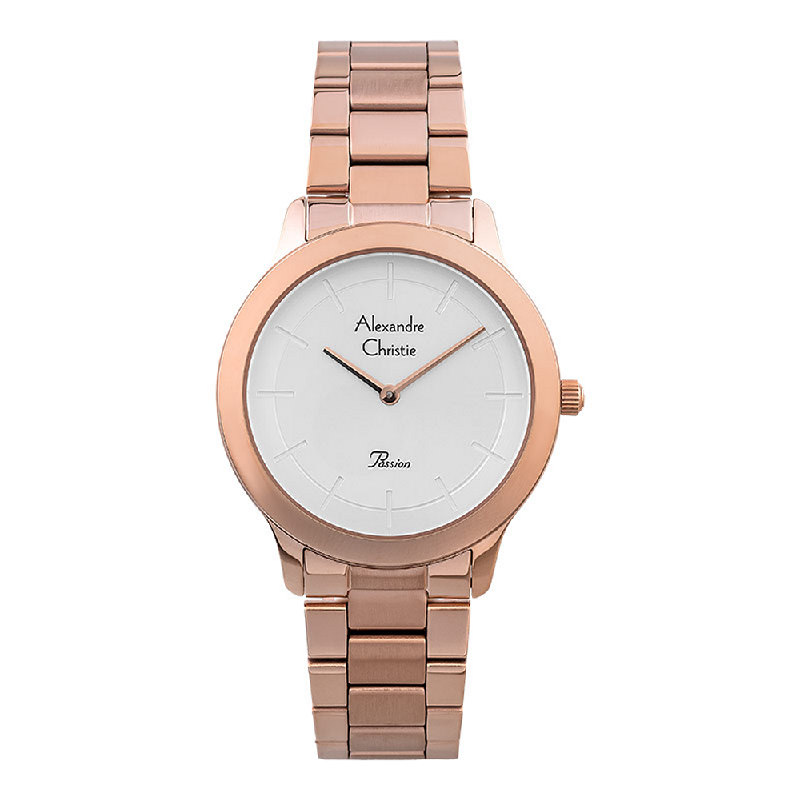 Alexandre Christie Passion AC 2834 LH BRGSL Ladies Silver Dial Rose Gold Stainless Steel