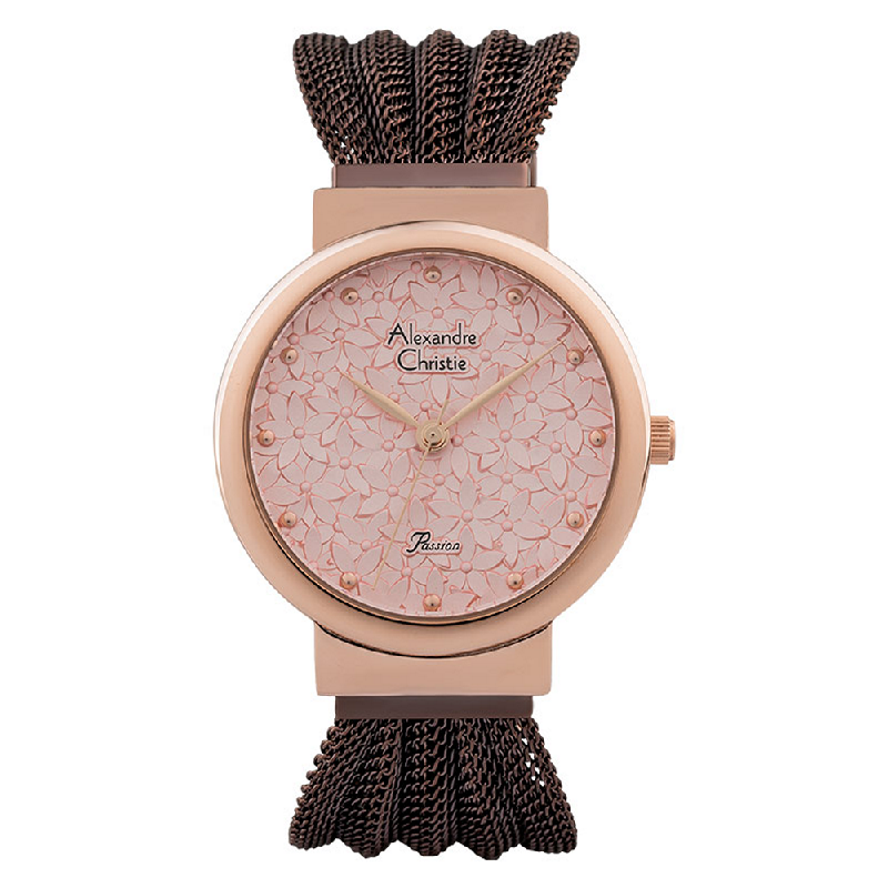 Alexandre Christie Passion AC 2845 LH BROPN Ladies Pink Dial Brown Stainless Steel Strap