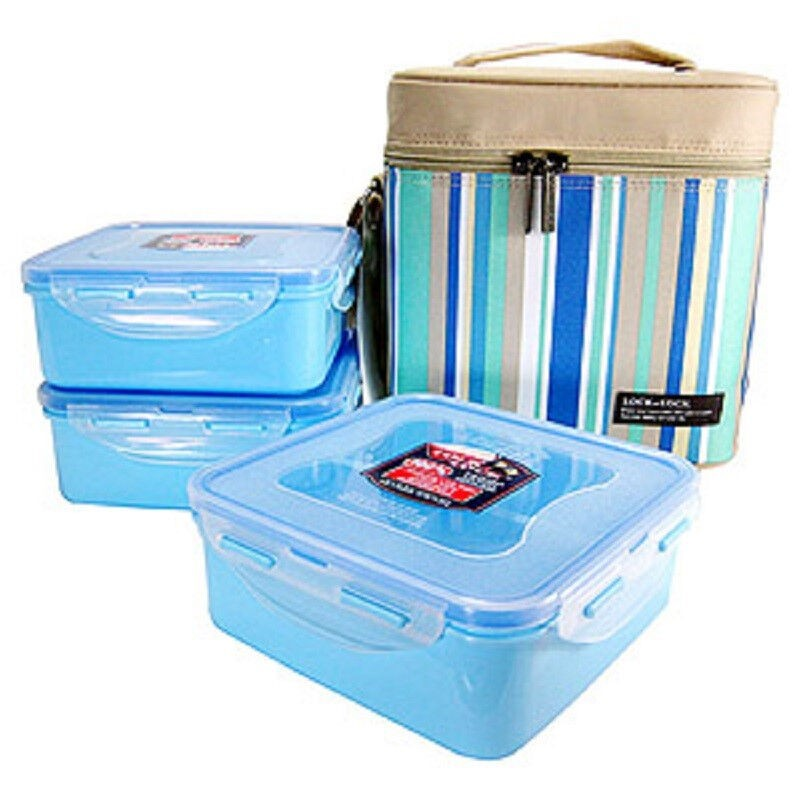 Lock & Lock HPl754Rb Lunch Box 3P Set with Blue Lunch Bag704(1P),752(1P),7
