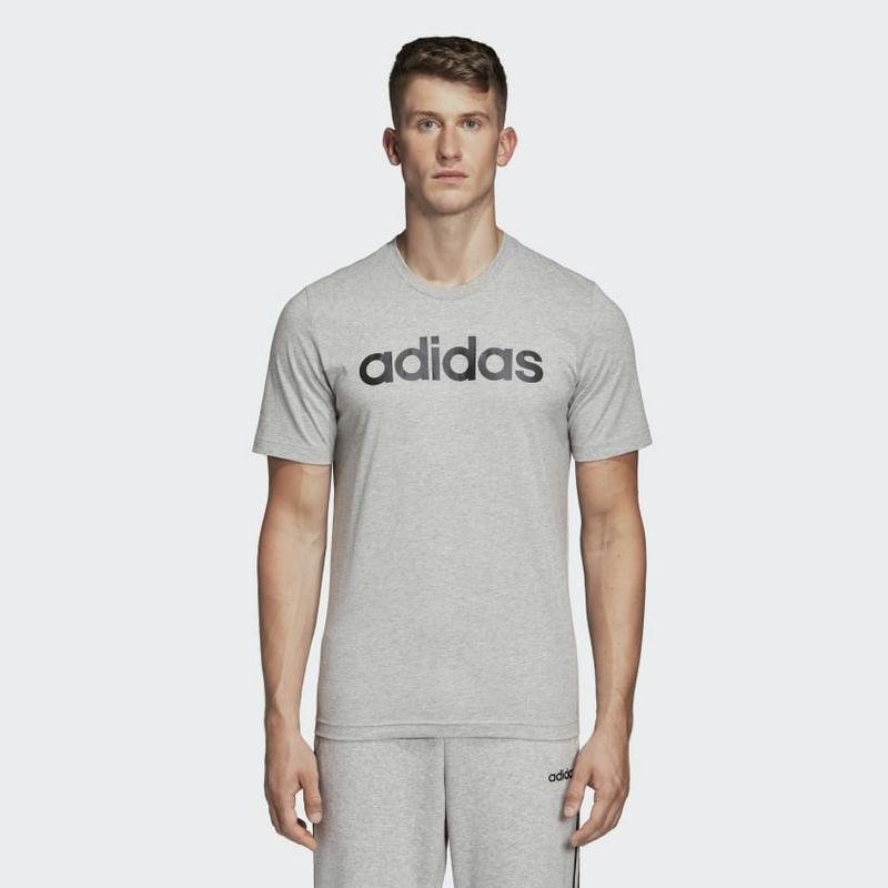 Adidas Essentials Linear Logo Tee DU0409 Medium Grey Heather