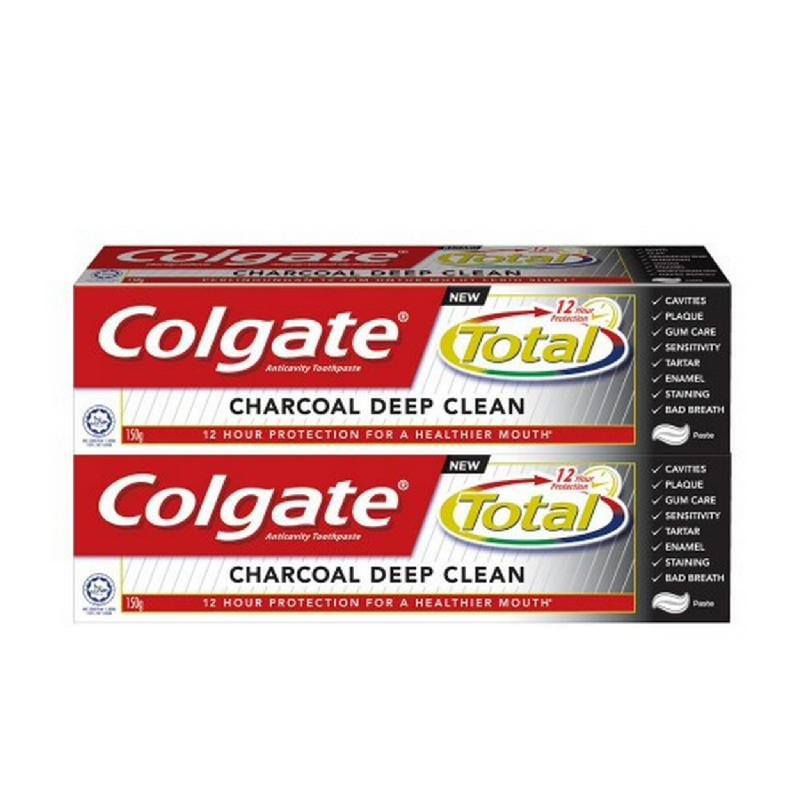 Twin Pack Colgate Total 12 Charcoal Paste 150 g