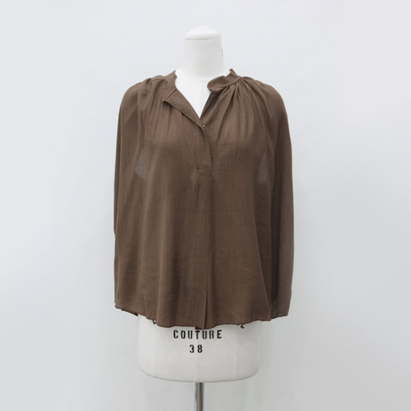 Shirring Top Blouse (2color) Brown