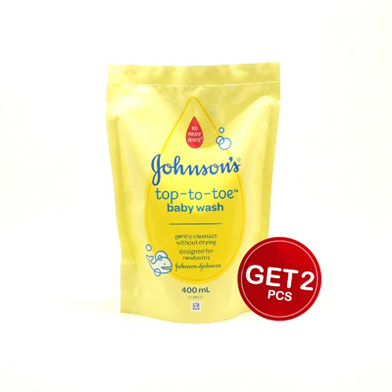 Johnsons Baby Wash Bath Top-To-Toe Refill Pack 400 Ml (Get 2)