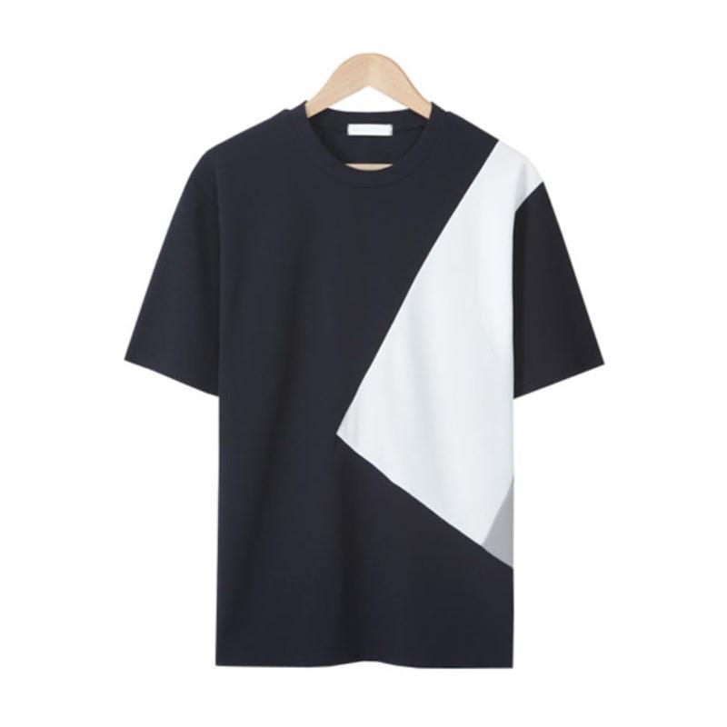 LE_Solid Line Cut T-shirt - Navy