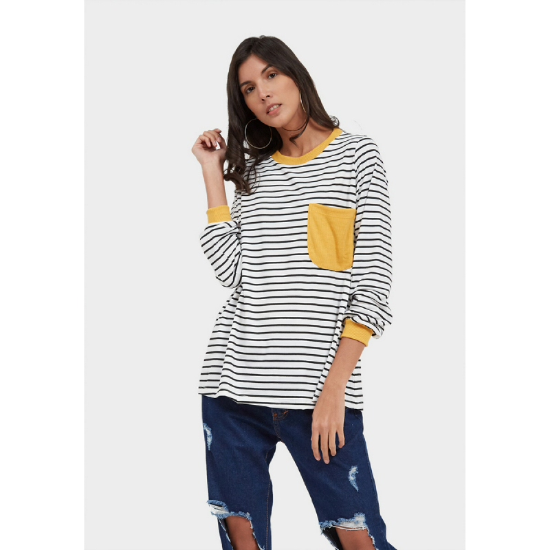Graphis Striped Top Black