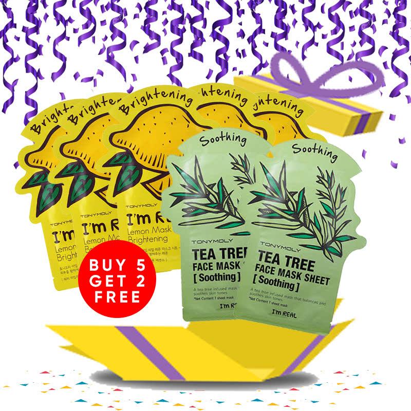 Tony Moly Bundle 5pcs I Am Real Lemon Mask Sheet Brightening + 2pcs Tea Tree Mask Sheet Skin Calming