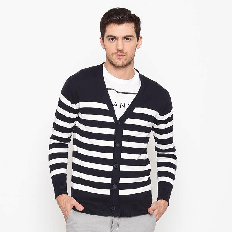 Button Sweater Stripe White-Navy