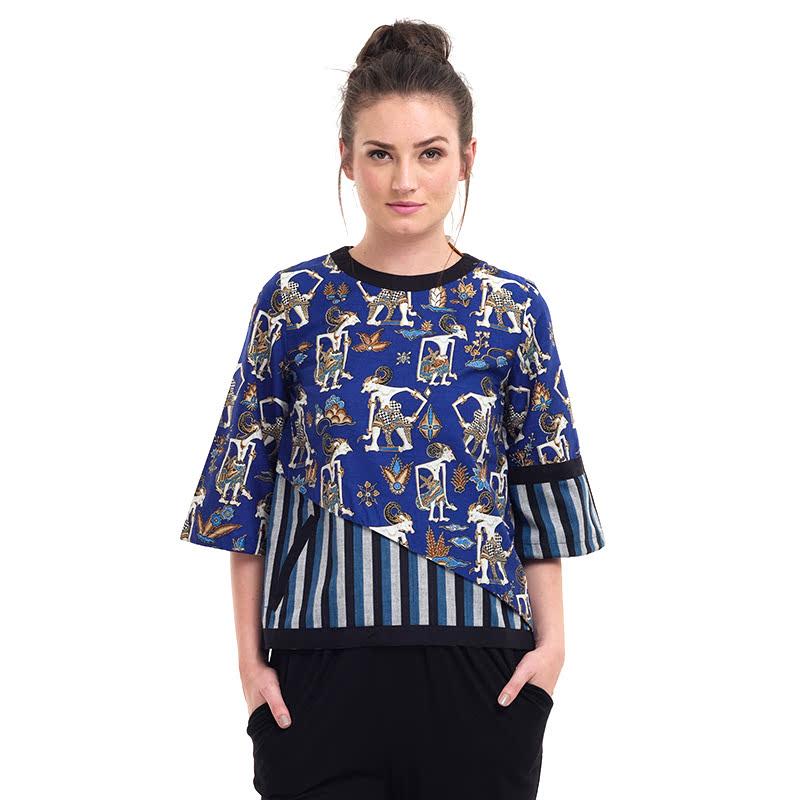 Batik Semar Asilium Pa Pth Pandawa Lima 2 Blouse Blue