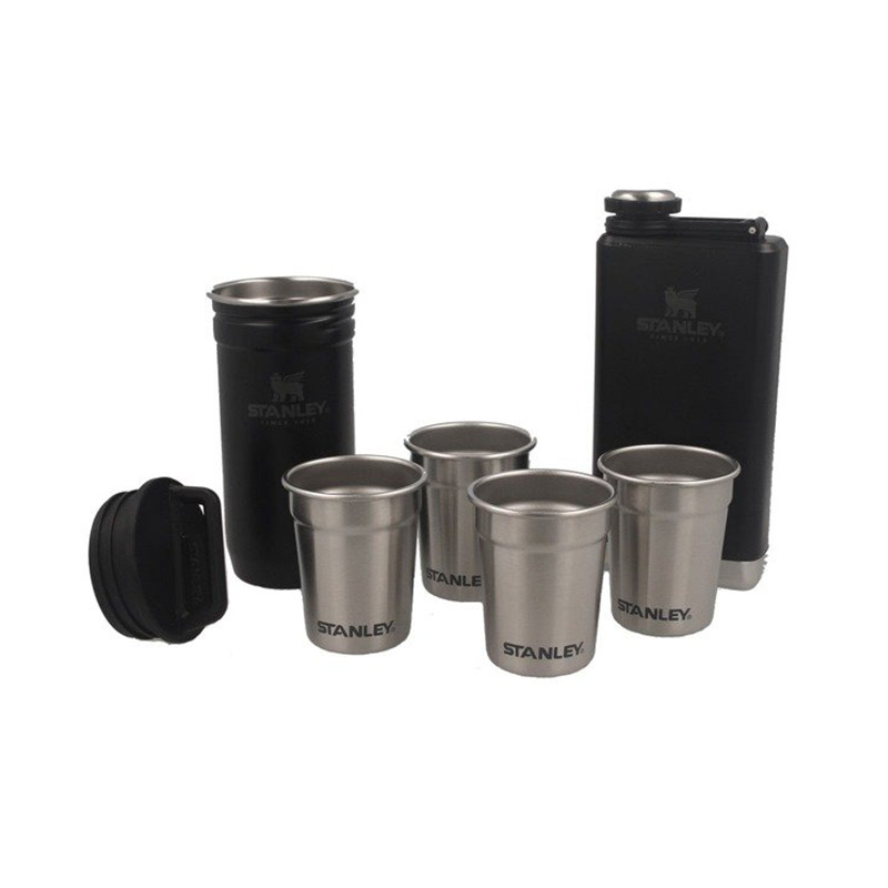 Stanley Adventure Hip Flask And Shot Glass Set  Black