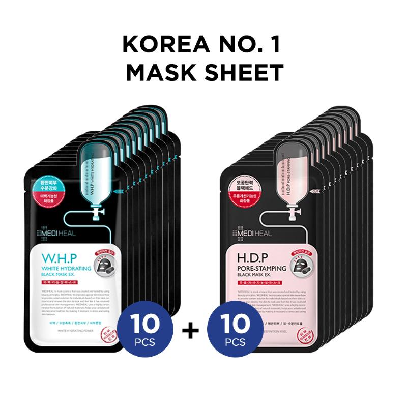 Mediheal W.H.P Black Mask Ex 10pcs + Mediheal H.D.P Black Mask Ex 10pcs