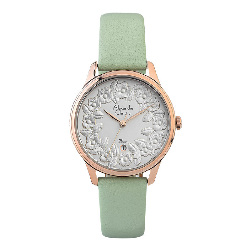 Alexandre Christie Passion AC 2855 LD LRGSLGN Ladies Silver Floral Dial Green Leather Strap