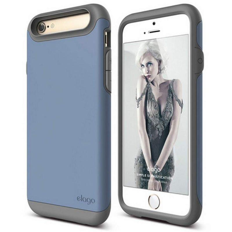 Elago Duro Gray Case for iPhone 6, 6S - Matt Dark Gray + SF Royal Blue