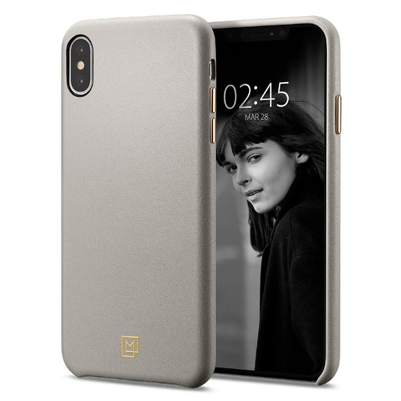 Spigen iPhone XS Max Case La Manon Câlin (Premium Leather) - Oatmeal Beige