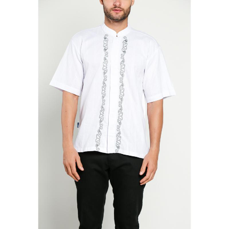 Aitana Baju Koko Pria Bordir YN-11725-SS Putih