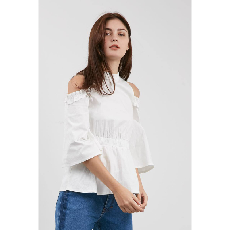 Windy Cold Shoulder Top White