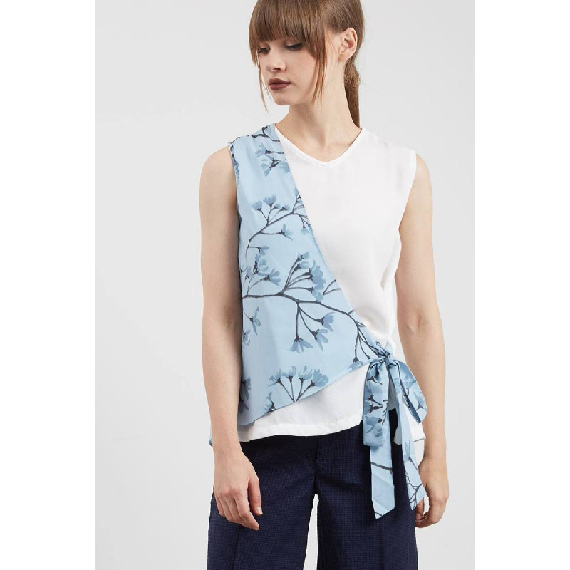 Siloso Side Knot Top Blue