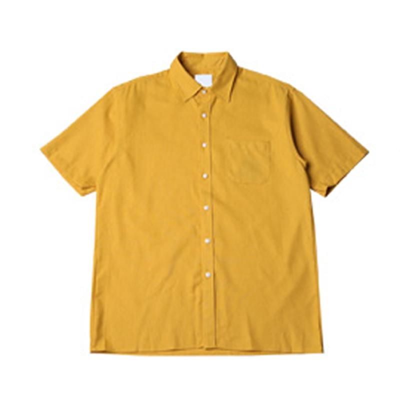 [BJ2645]Boxy 8 Color Linen Short Sleeve Shirt - Yellow