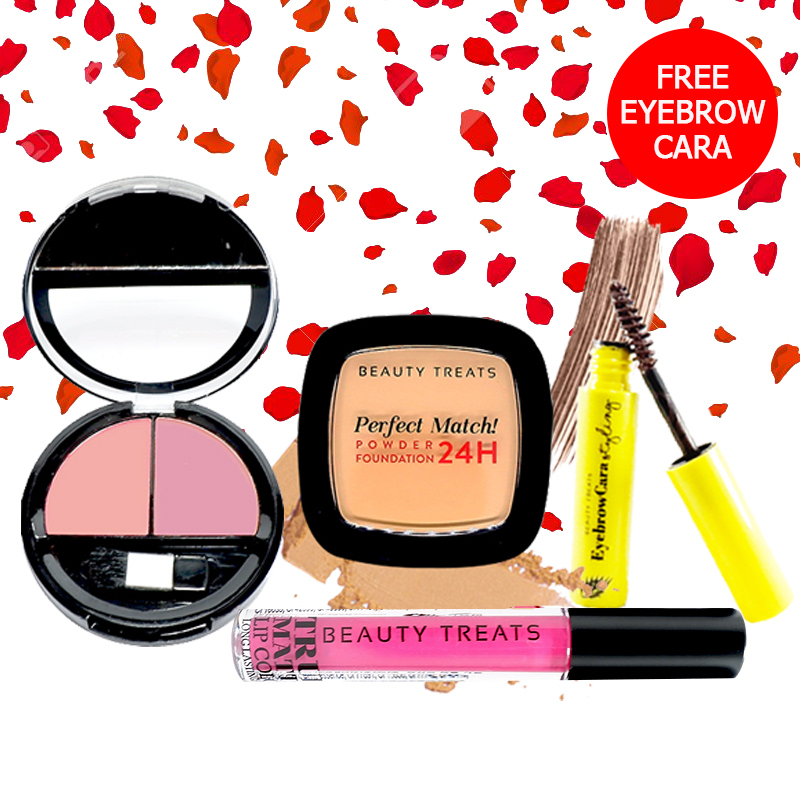 Beauty Treats Make Up Set A (Perfect Match Powder Foundation 24H No. 4 + True Matte Lip Color No. 5 + Duo Blush No. 3) FREE Eyebrowcara Dark Brown