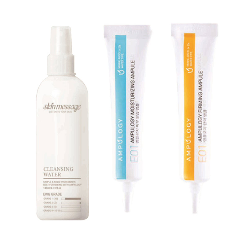 Ampulogy Skin Message Cleansing Water 140ml + Ampulogy Moisturizing Ampule 10ml  + Ampulogy Firming Ampule 10ml