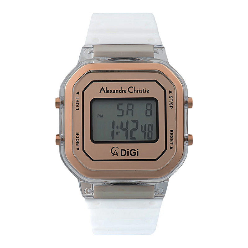 Alexandre Christie AC 9331 LH RRGRG Ladies Rose Gold Digital Dial White Rubber Strap
