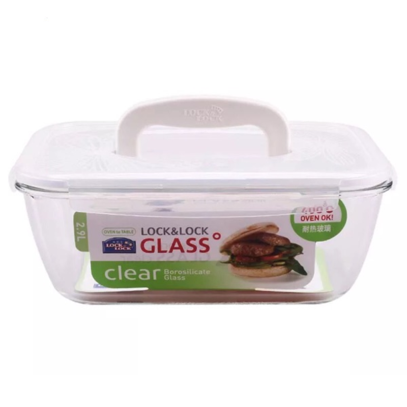 LOCK&LOCK Heat Resistant Glass Rectangular 2.9L With Handle LLG463