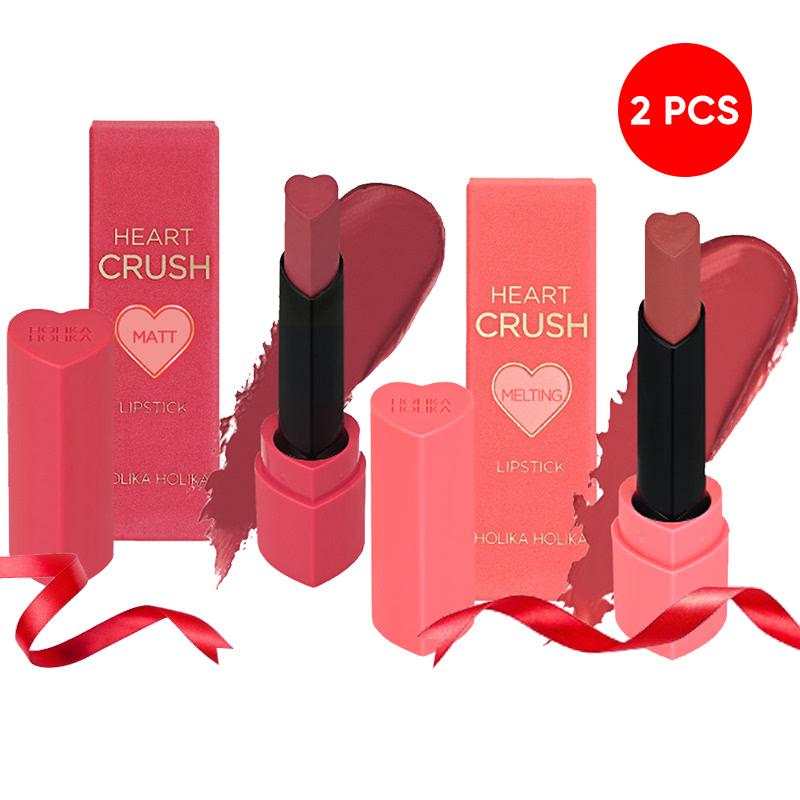 Holika Holika Heart Crush Lipstick Fitting Melting PK04 Prim Rose + Power Matt PK06 Dusty Mauve